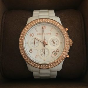 Michael Kors White and rose gold watch